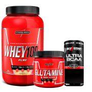 Kit Super Whey 100% Pure 907g Integralmedica + Glutamine Isolates 300g Integralmédica + Ultra BCAA Elite Series Six Star 60 caps MuscleTech