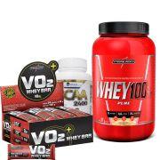 Kit Super Whey 100% Pure 907g Integralmedica + VO2 Whey Bar cx/ c 24 unid de 30g IntegralMedica  + BCAA 2400 300 caps Easy Nutri