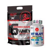 Kit War 6 Whey Complex Protein 1,8kg + MultiVitamínico Vit Glaft Midway
