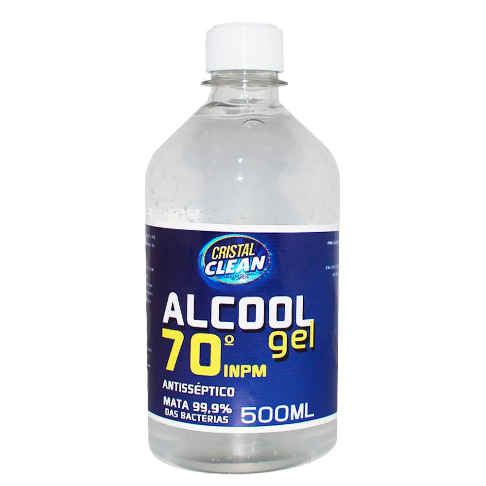 Álcool Em Gel 70º 500 ml Cristal Clean Alcool