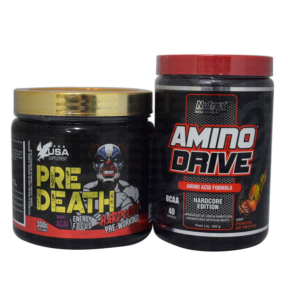 Amino Drive 200g Nutrex + Pre Death Hardcore 300g USA Supplement + Coqueteleira WDD
