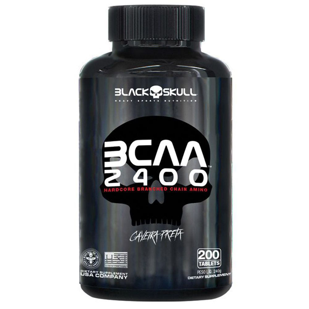 BCAA 2400mg Caveira Preta 200tabs Black Skull