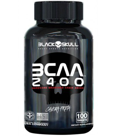 BCAA 2400mg Caveira Preta 100tabs Black Skull