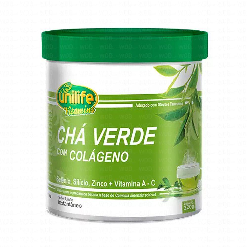 Chá Verde Instantâneo com Colágeno 220g Sabor Limão Unilife