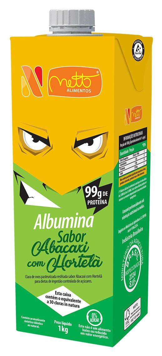 Clara de Ovo Pasteurizada Resfriada Abacaxi com Hortelã 1Kg Netto Alimentos 10 unidades