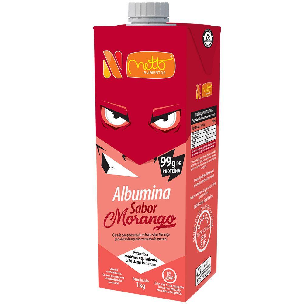 Clara de Ovo Pasteurizada Resfriada Morango 1Kg Netto Alimentos 7 unidades