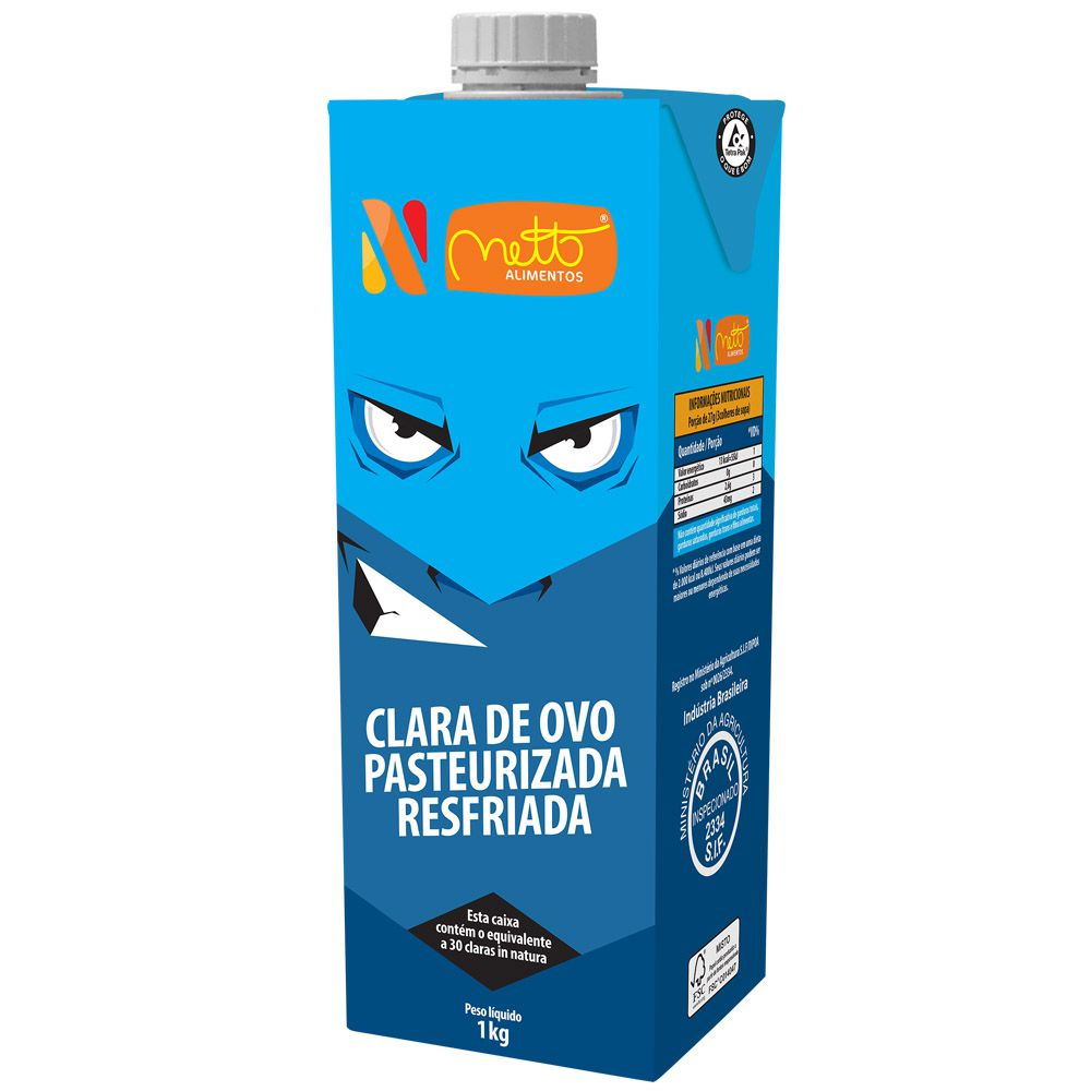 Clara de Ovo Pasteurizada Resfriada Natural 1Kg Netto Alimentos 4 unidades