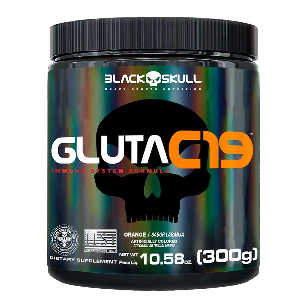 Gluta C19 Glutamina com Minerais 300g Black Skull
