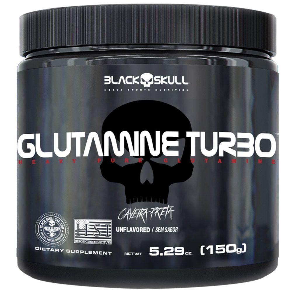 Glutamine Turbo Caveira Preta 150g Black Skull