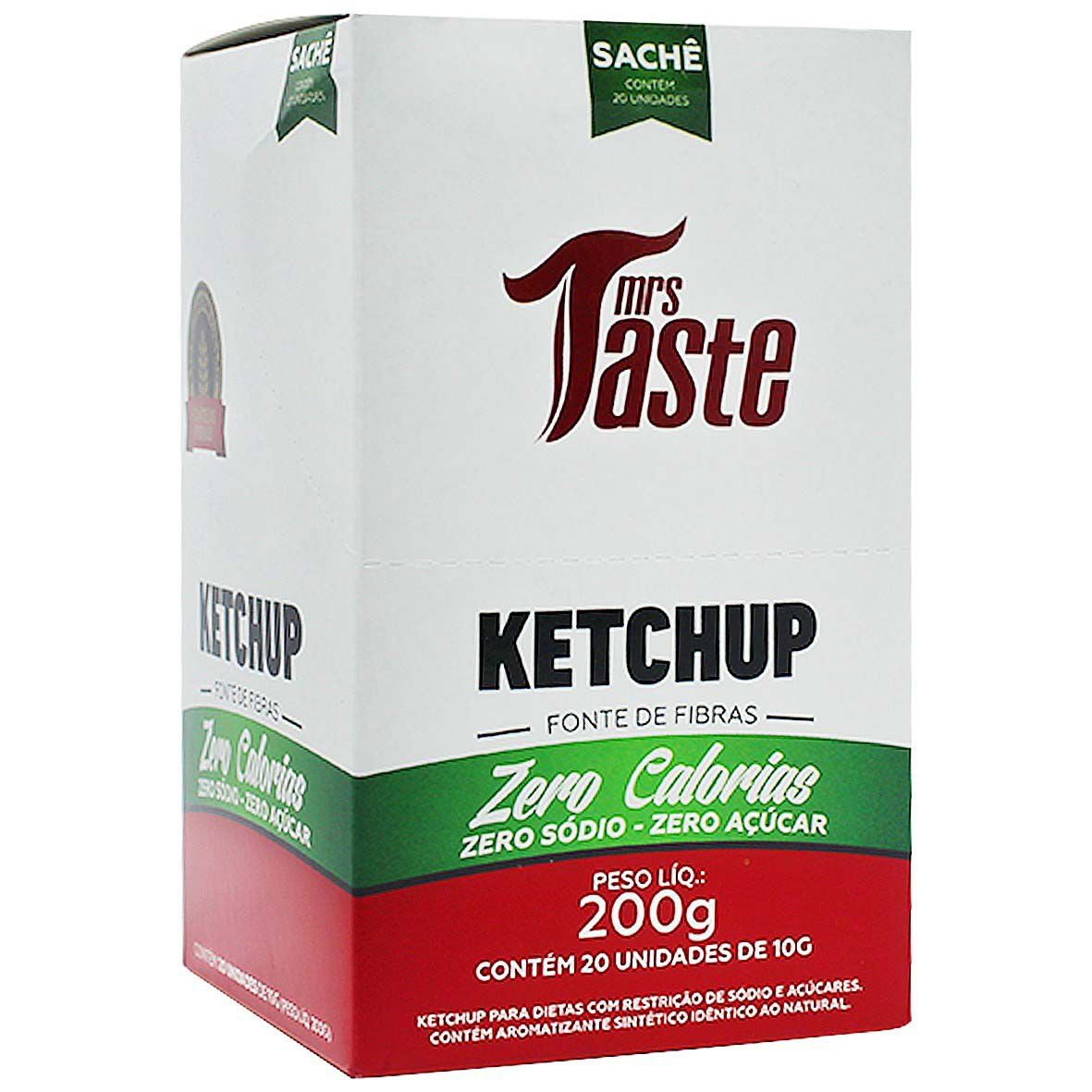 Ketchup Zero Calorias Cx c/ 20 sachês de 10g Mrs Taste