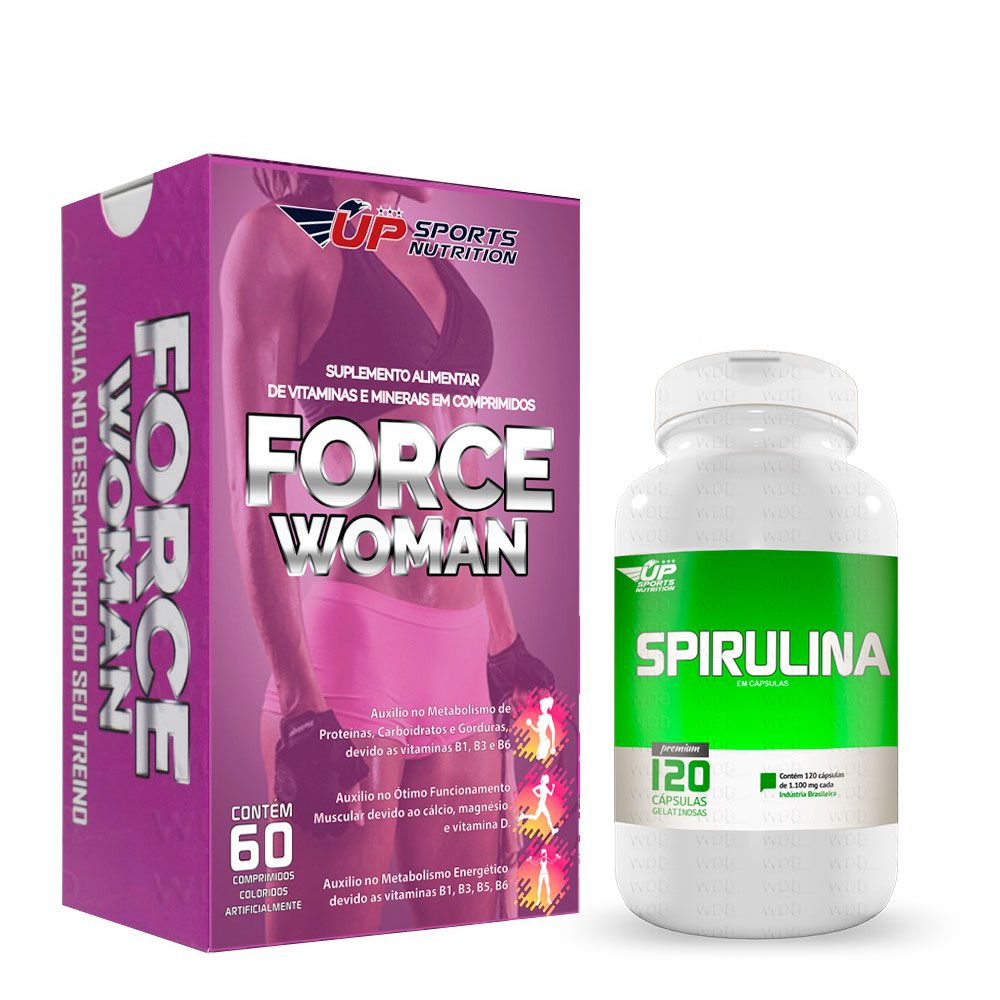 KIt FORCE WOMAN 60 CAPS  + SPIRULINA 120 CAPS UP SPORTS NUTRITION