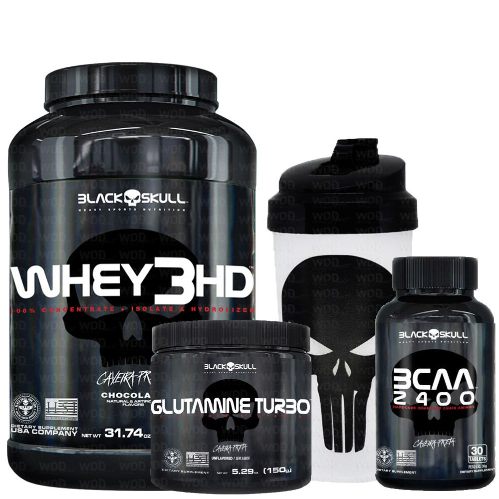 Kit Black Skull Whey 3HD + BCAA 2400 + Glutaminne Turbo + Coqueteleira WDD