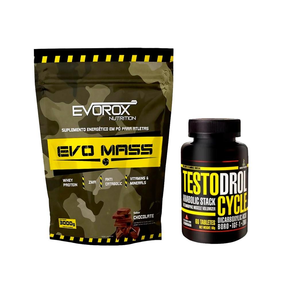 KIT Hipercalórico Evo Mass 3kg + Testodrol Cycle 60 Tabs