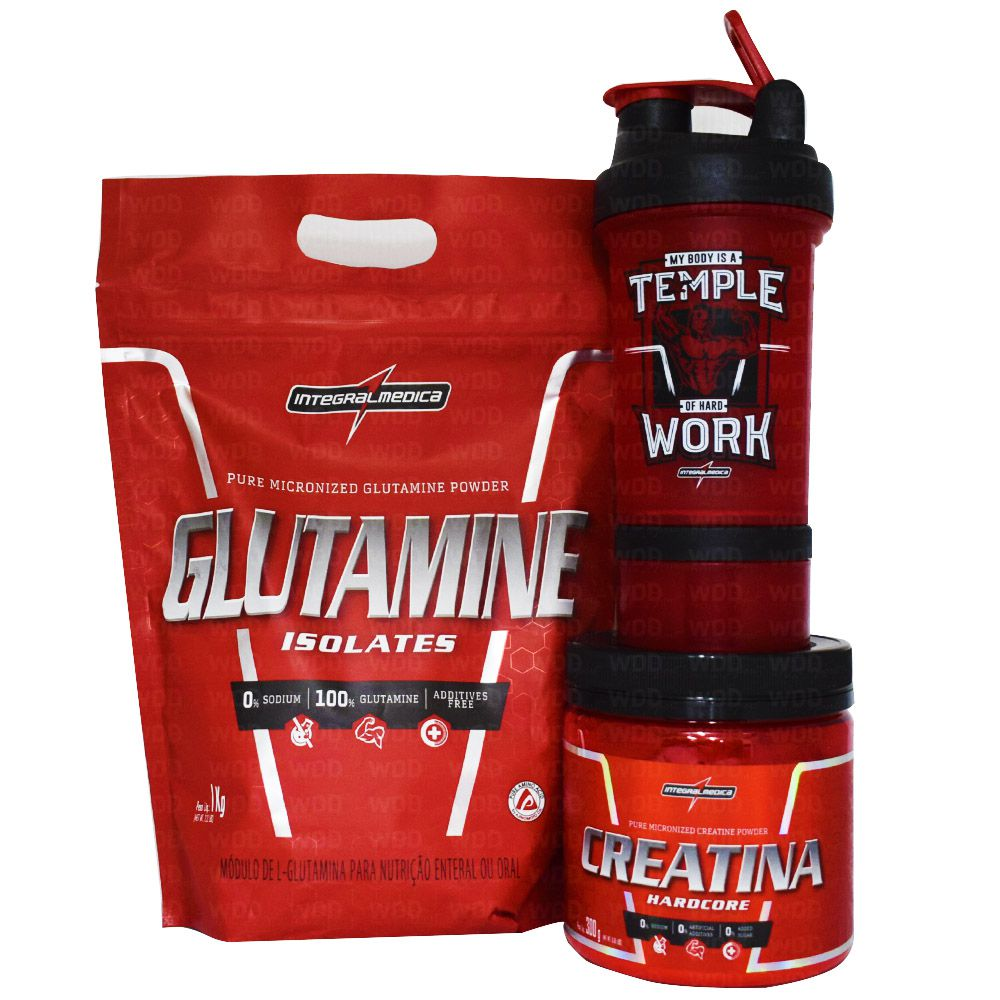 Kit Integralmedica Glutamine Isolates 1kg + Creatina 300g + Coqueteleira Vermelha