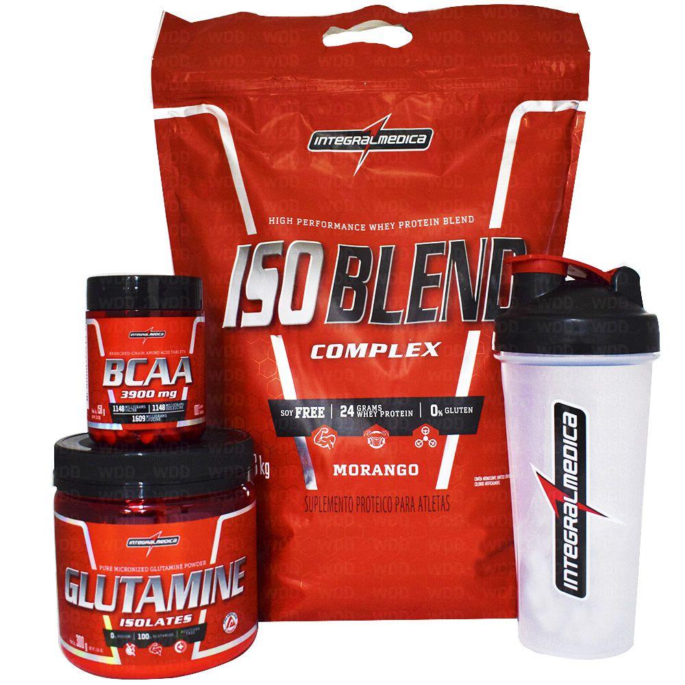 Kit Integralmedica Iso Blend Complex 1,8Kg + Glutamine Isolates 300g + BCAA 3900 100 tabs + Coqueteleira