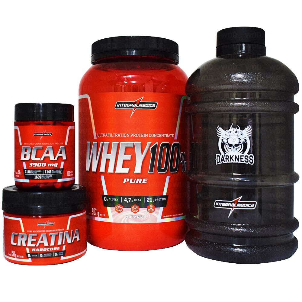 Kit Integralmedica Super Whey 100% Puro 907g + Creatina Hardcore 150g + BCAA 3900 100 tabs + Galão Darkness