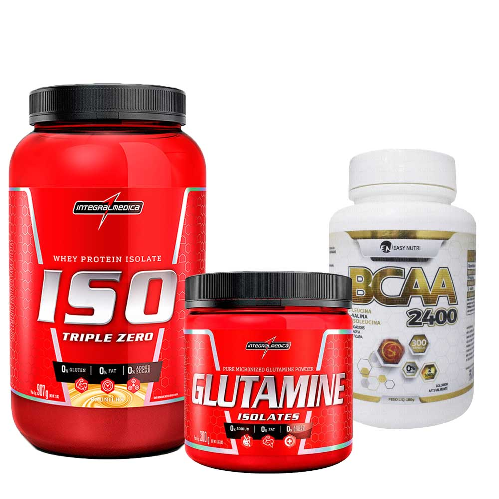 Kit  Iso Triple Zero 907g Integralmedica + Glutamine Isolates 300g Integralmédica + BCAA 2400 300 caps Easy Nutri