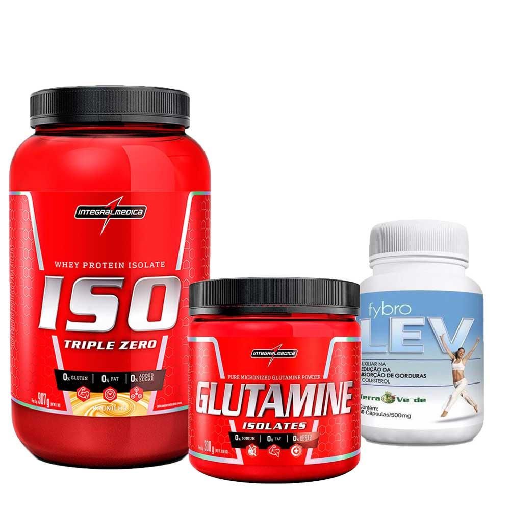 Kit  Iso Triple Zero 907g Integralmedica + Glutamine Isolates 300g Integralmédica + Fybro Lev 60 caps Terra Verde