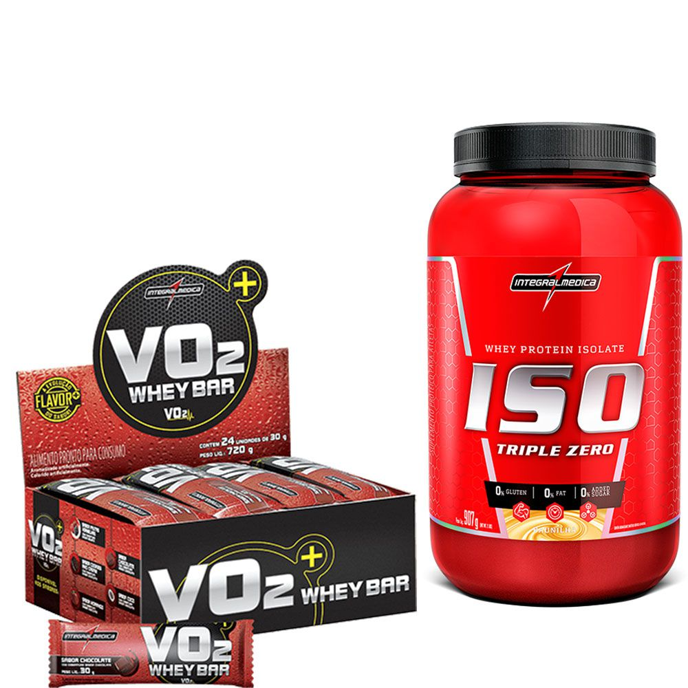 Kit  Iso Triple Zero 907g Integralmedica + VO2 Whey Bar cx/ c 24 unid de 30g IntegralMedica