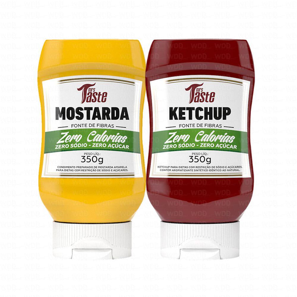 Kit Mostarda 350g Zero Calorias + Ketchup 350g Zero Calorias Mrs Taste