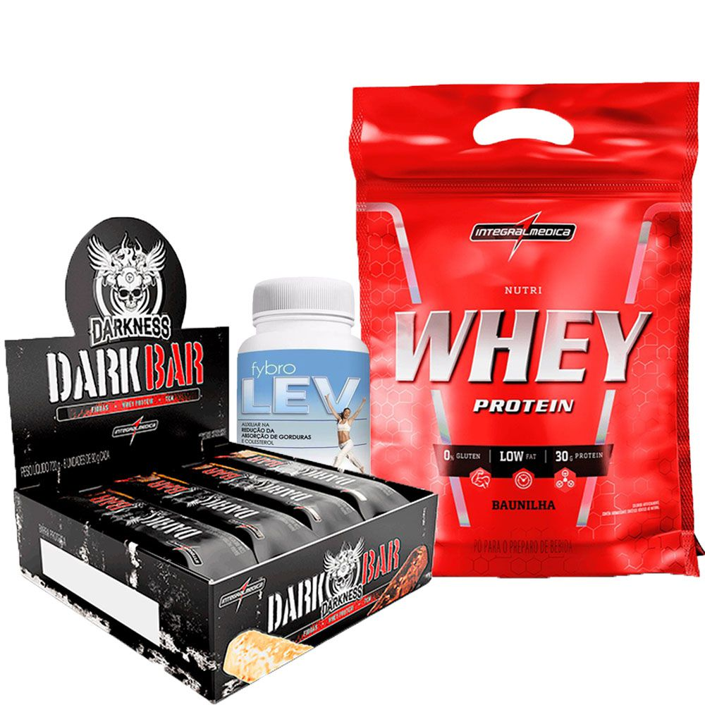 Kit Nutri Whey Protein Refil 907g IntegralMedica + Dark Bar cx c/ 8un de 90g IntegralMédica + Fybro Lev 60 caps Terra Verde