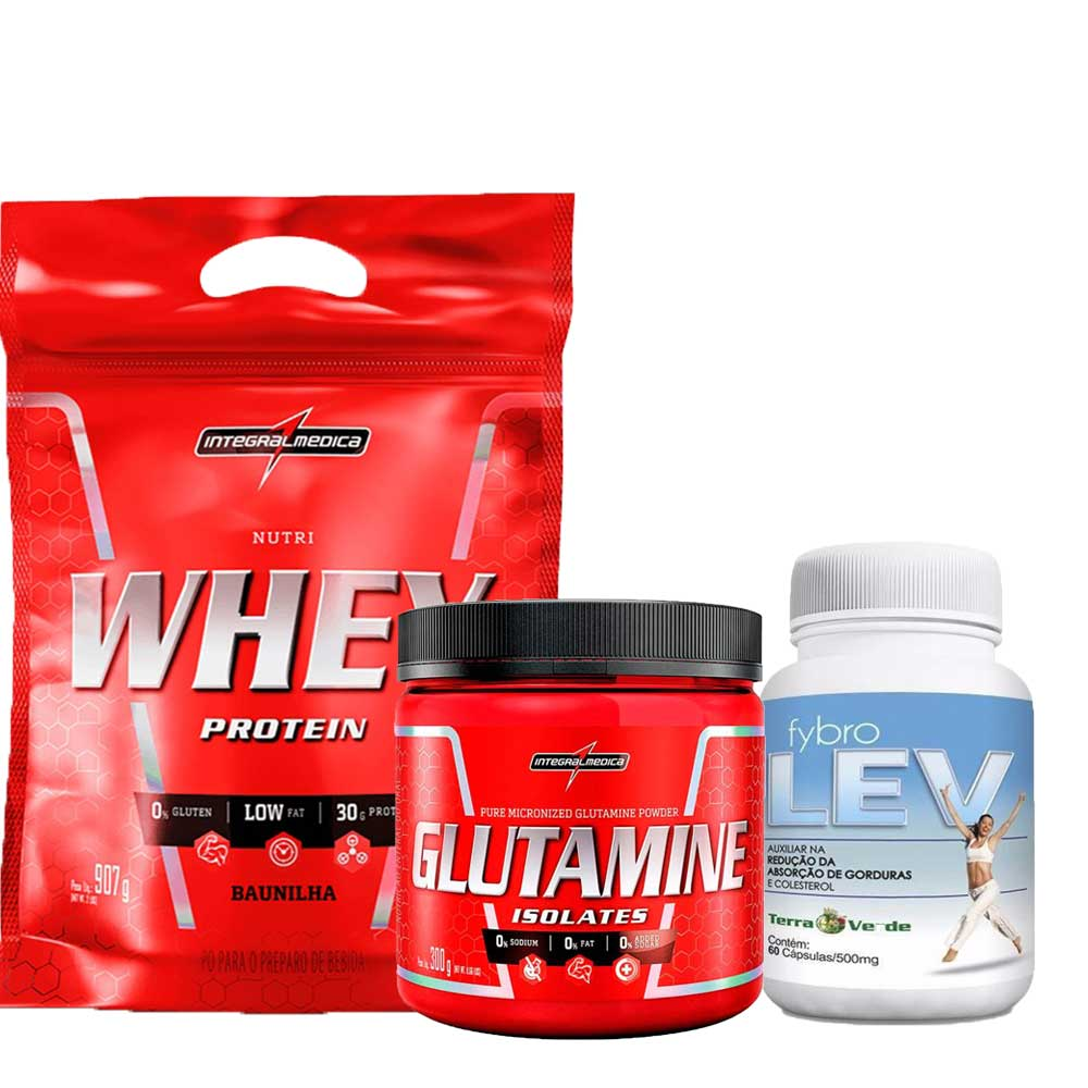 Kit Nutri Whey Protein Refil 907g IntegralMedica + Glutamine Isolates 300g Integralmédica + Fybro Lev 60 caps Terra Verde