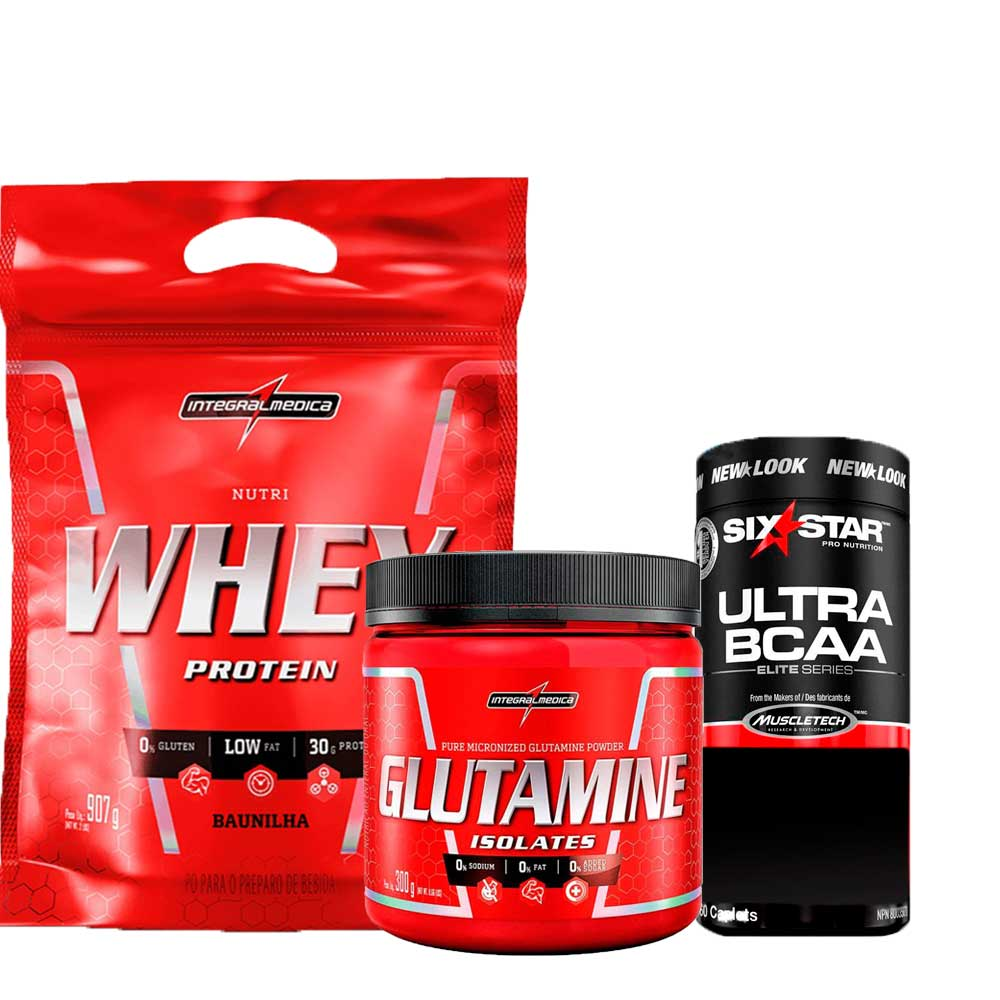 Kit Nutri Whey Protein Refil 907g IntegralMedica + Glutamine Isolates 300g Integralmédica + Ultra BCAA Elite Series Six Star 60 caps MuscleTech