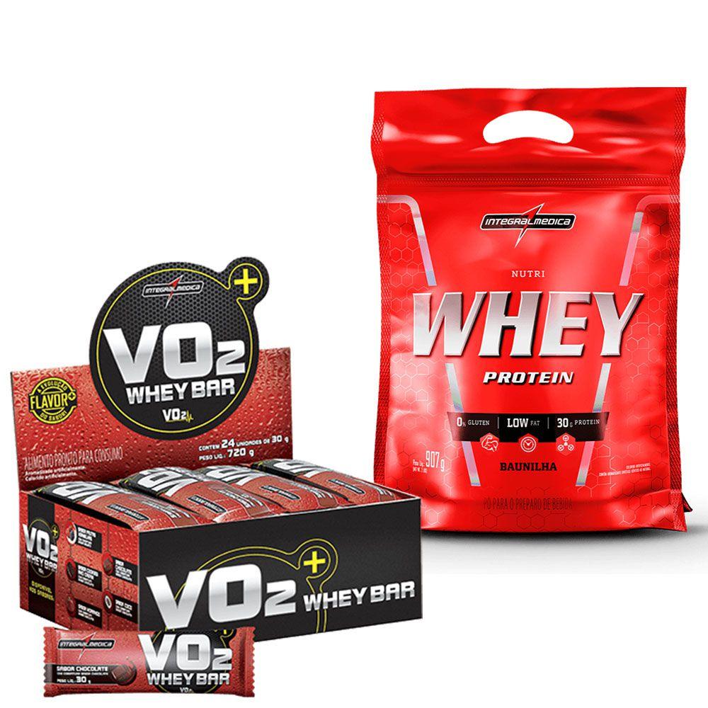 Kit Nutri Whey Protein Refil 907g IntegralMedica + VO2 Whey Bar cx/ c 24 unid de 30g IntegralMedica