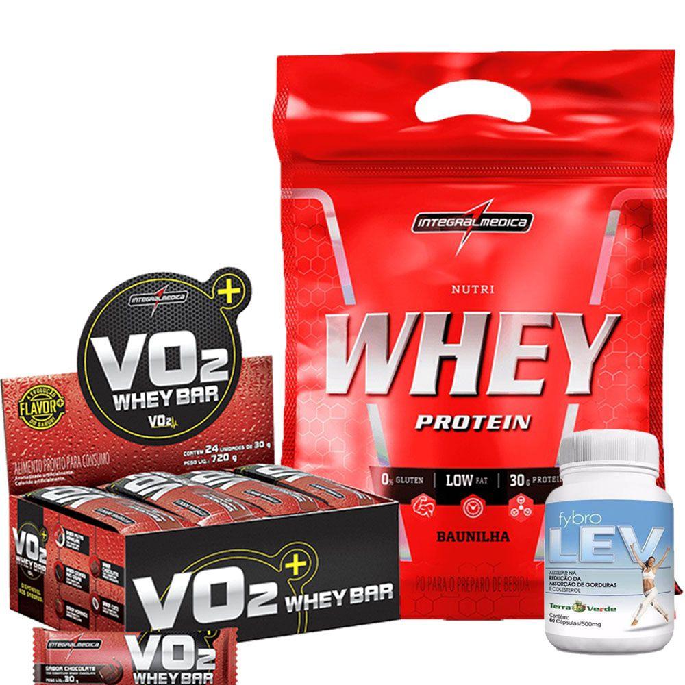 Kit Nutri Whey Protein Refil 907g IntegralMedica + VO2 Whey Bar cx/ c 24 unid de 30g IntegralMedica + Fybro Lev 60 caps Terra Verde