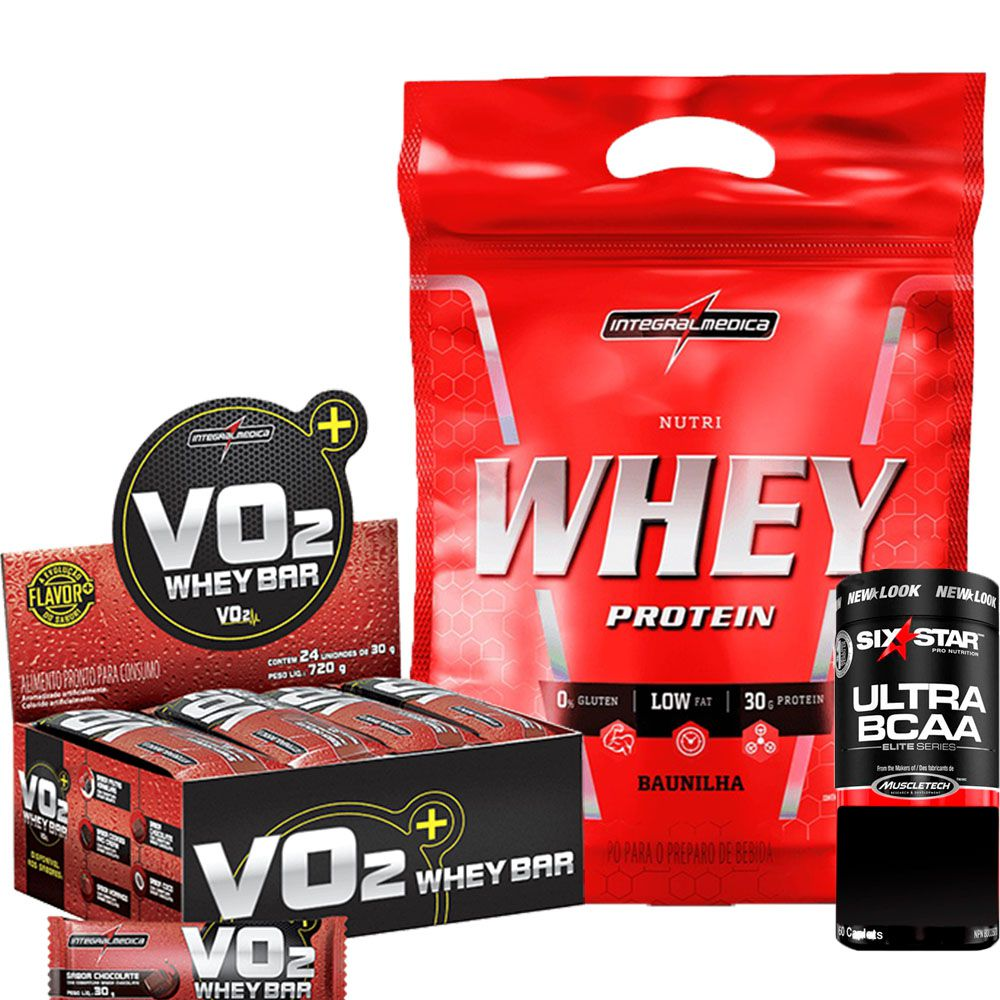 Kit Nutri Whey Protein Refil 907g IntegralMedica + VO2 Whey Bar cx/ c 24 unid de 30g IntegralMedica + Ultra BCAA Elite Series Six Star 60 caps MuscleTech
