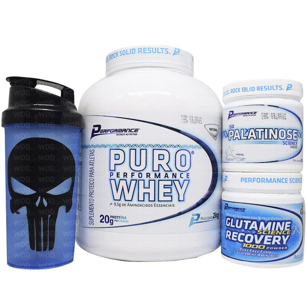 Kit Performance - Puro Whey 2kg + Glutamine Recovery 300g + Iso Palatinose + Coqueteleira WDD