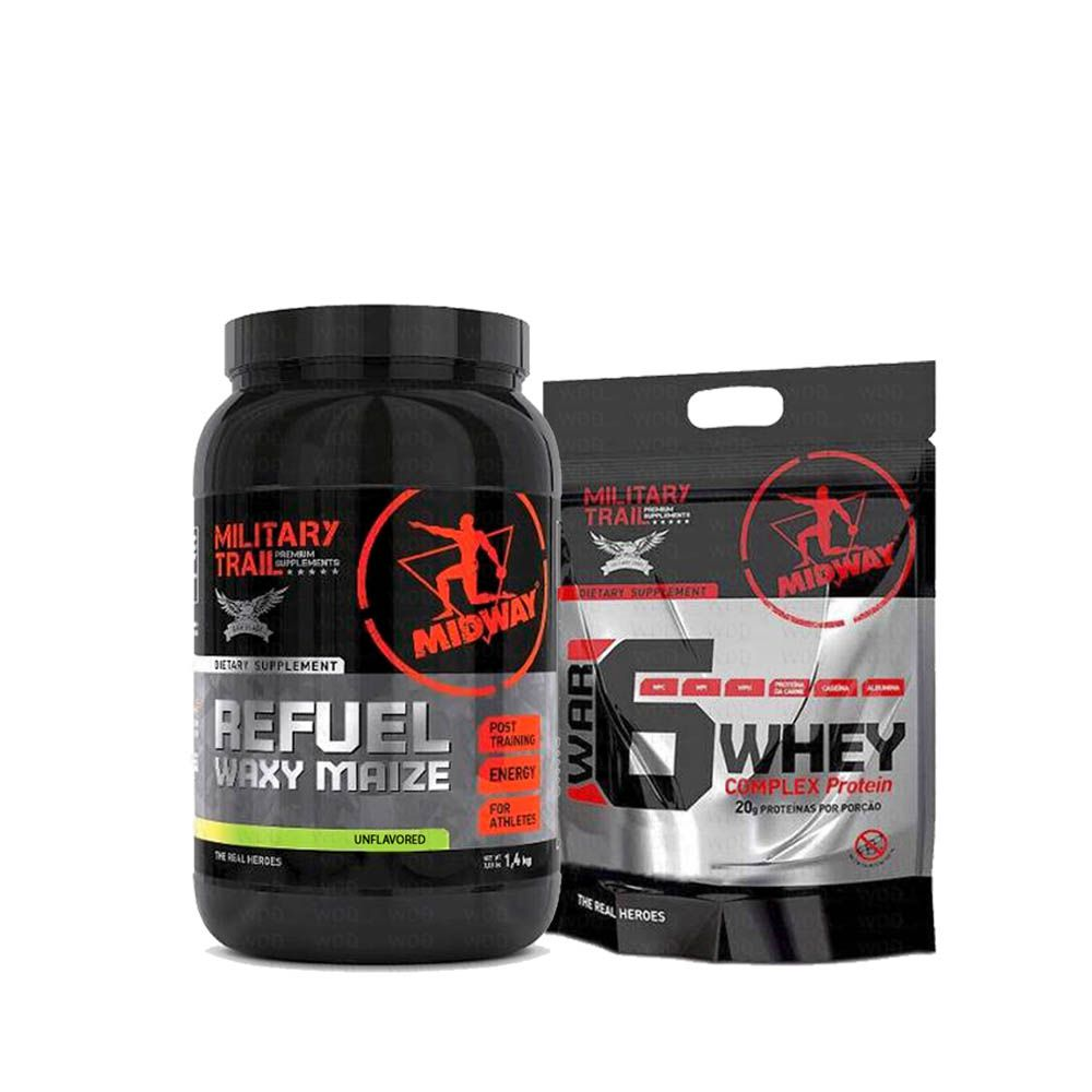 Kit Refuel Waxy Maize 1,4kg + War 6 Whey Complex Protein 907g Midway