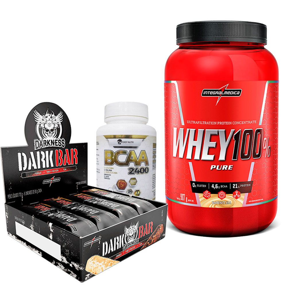 Kit Super Whey 100% Pure 907g Integralmedica + Dark Bar cx c/ 8un de 90g IntegralMédica + BCAA 2400 300 caps Easy Nutri