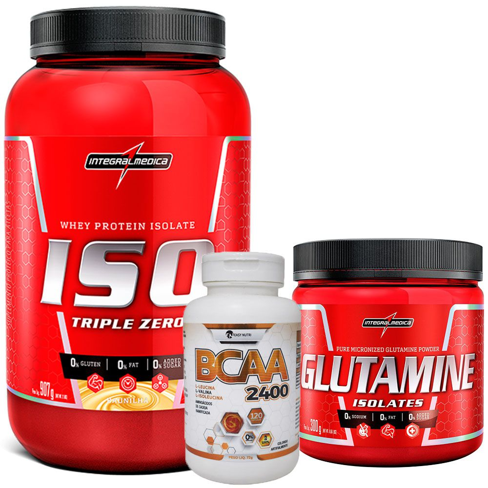 Kit Super Whey 100% Pure 907g Integralmedica + Glutamine Isolates 300g Integralmédica + BCAA 2400 120 caps Easy Nutri