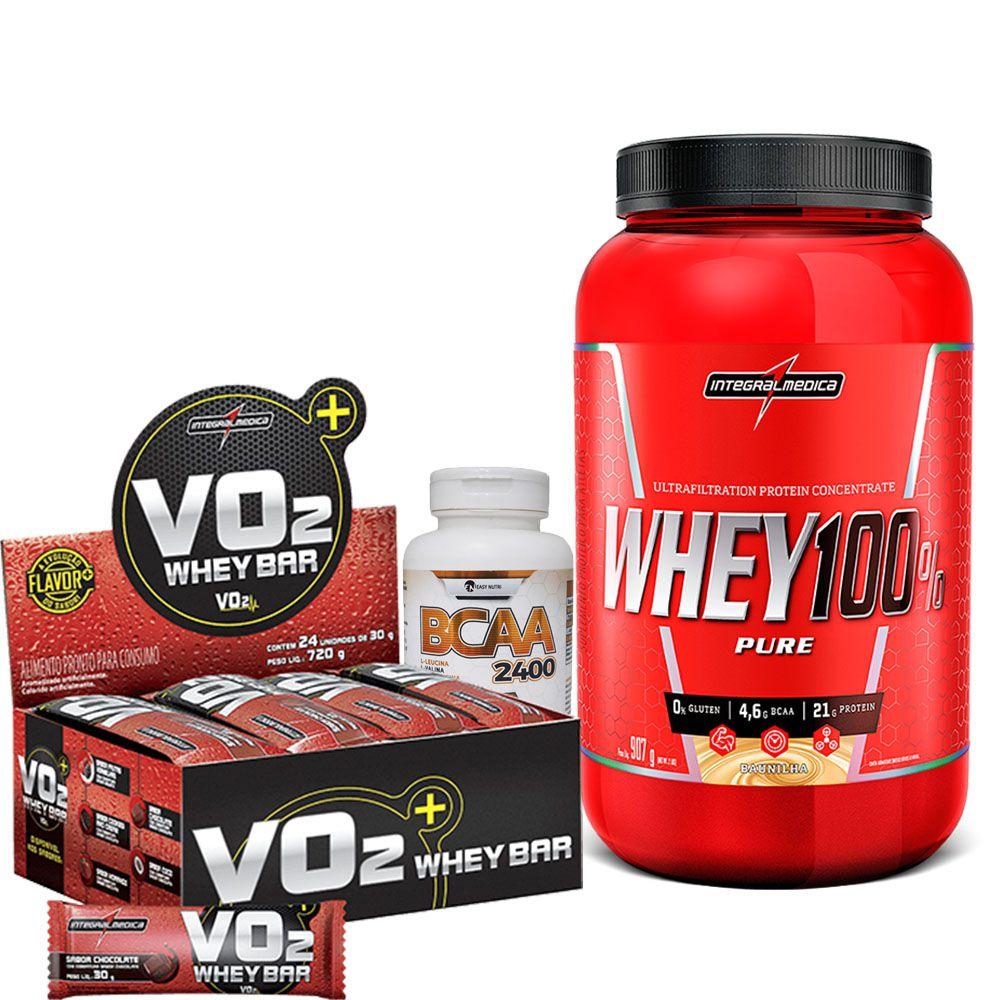 Kit Super Whey 100% Pure 907g Integralmedica + VO2 Whey Bar cx/ c 24 unid de 30g IntegralMedica  + BCAA 2400 120 caps Easy Nutri