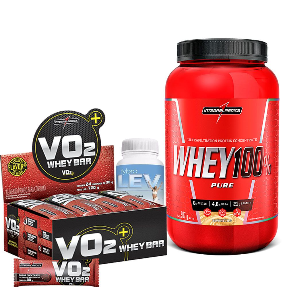 Kit Super Whey 100% Pure 907g Integralmedica + VO2 Whey Bar cx/ c 24 unid de 30g IntegralMedica  + Fybro Lev 60 caps Terra Verde