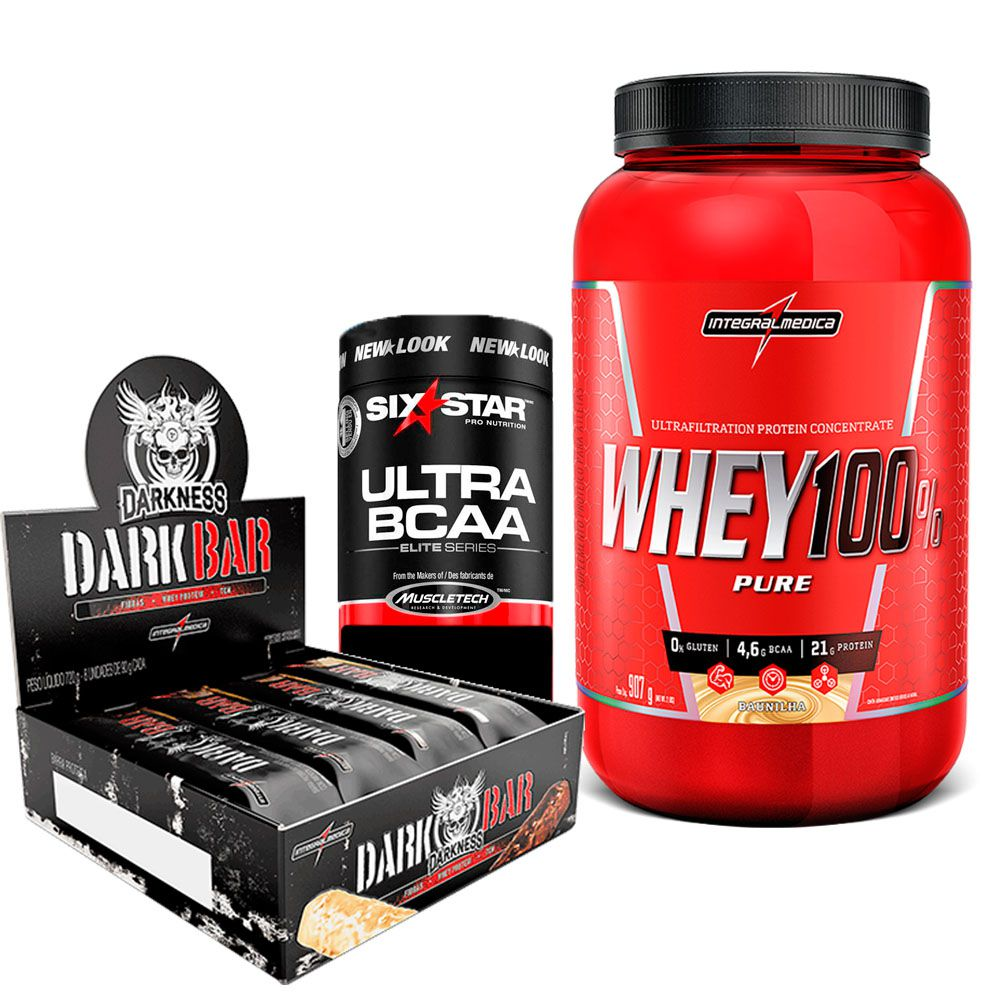 Kit Super Whey 100% Pure 907g Integralmedica + VO2 Whey Bar cx/ c 24 unid de 30g IntegralMedica  + Ultra BCAA Elite Series Six Star 60 caps MuscleTech