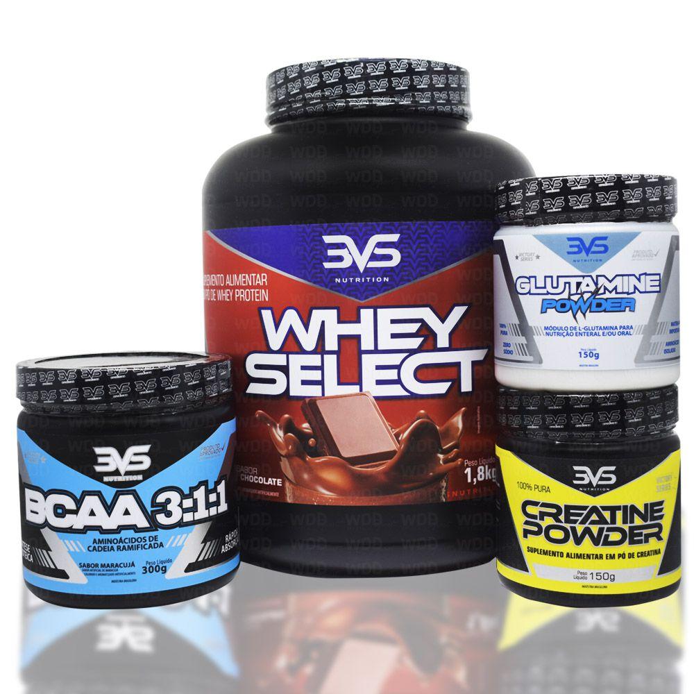 Kit Whey Select 1,8kg 3VS Nutrition + Creatine Powder 150g + BCAA 3:1:1 300g + Glutamine Powder 150g