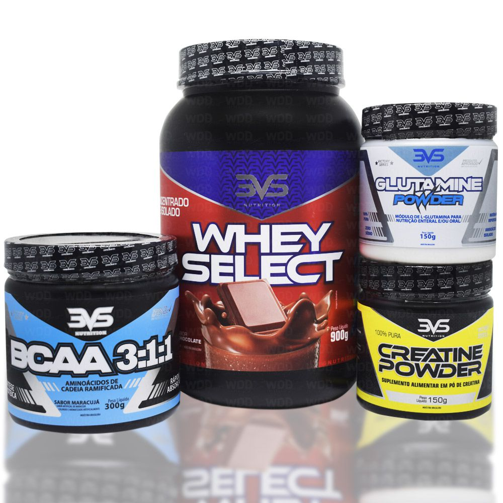 Kit Whey Select 900kg 3VS Nutrition + Creatine Powder 150g + BCAA 3:1:1 300g + Glutamine Powder 150g