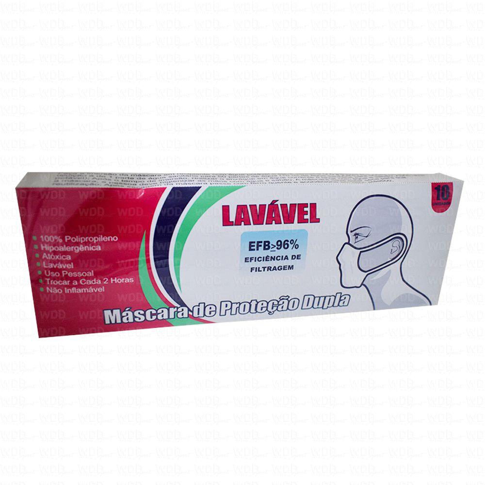Máscara Lavável de Proteção Dupla Cx 10 Unidades