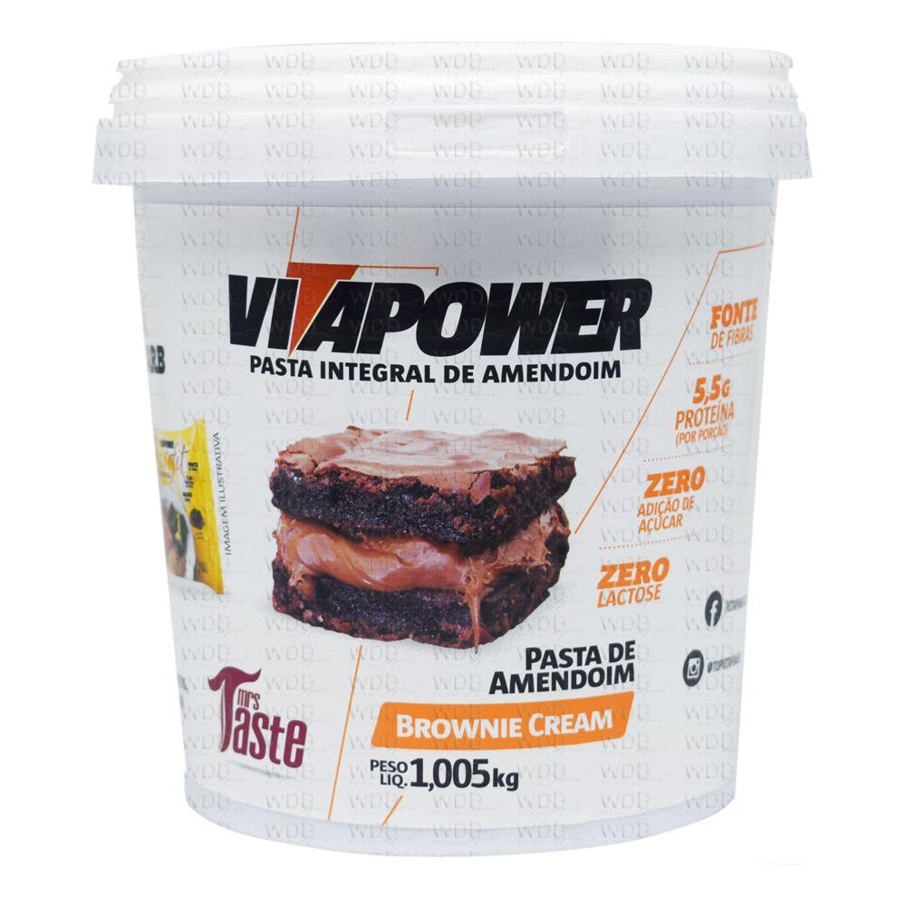 Pasta de Amendoim Integral 1,005kg Vitapower Brownie Cream Mrs Taste
