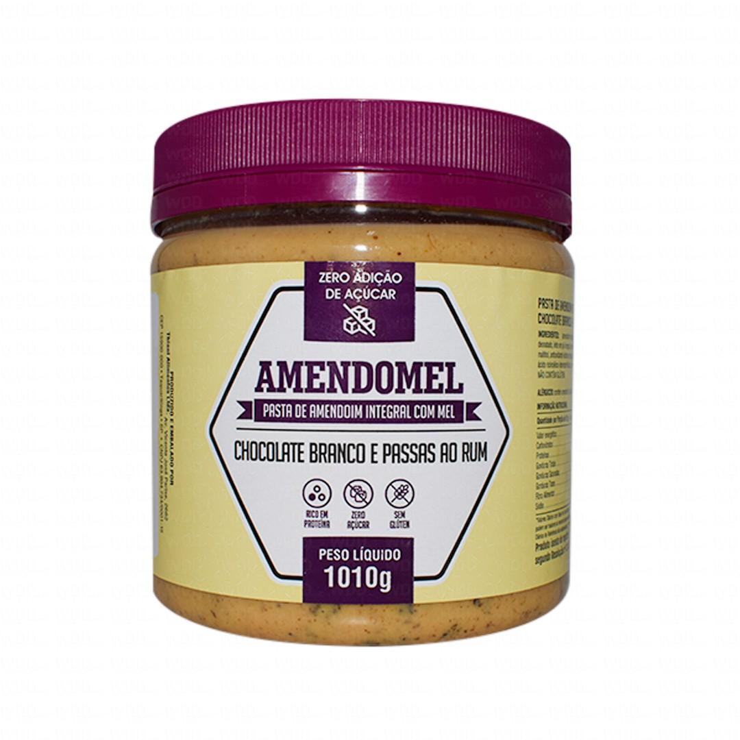 Pasta de Amendoim Integral Amendomel - Chocolate Branco com passas ao rum 1kg Thiani