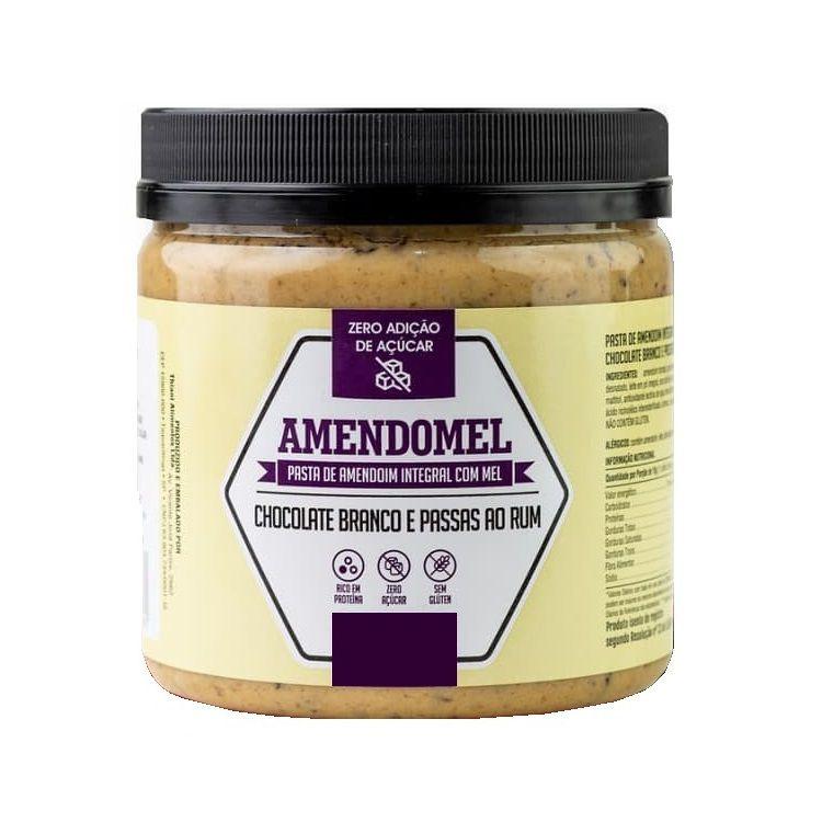 Pasta de Amendoim Integral Amendomel - Chocolate Branco com passas ao rum 500g Thiani