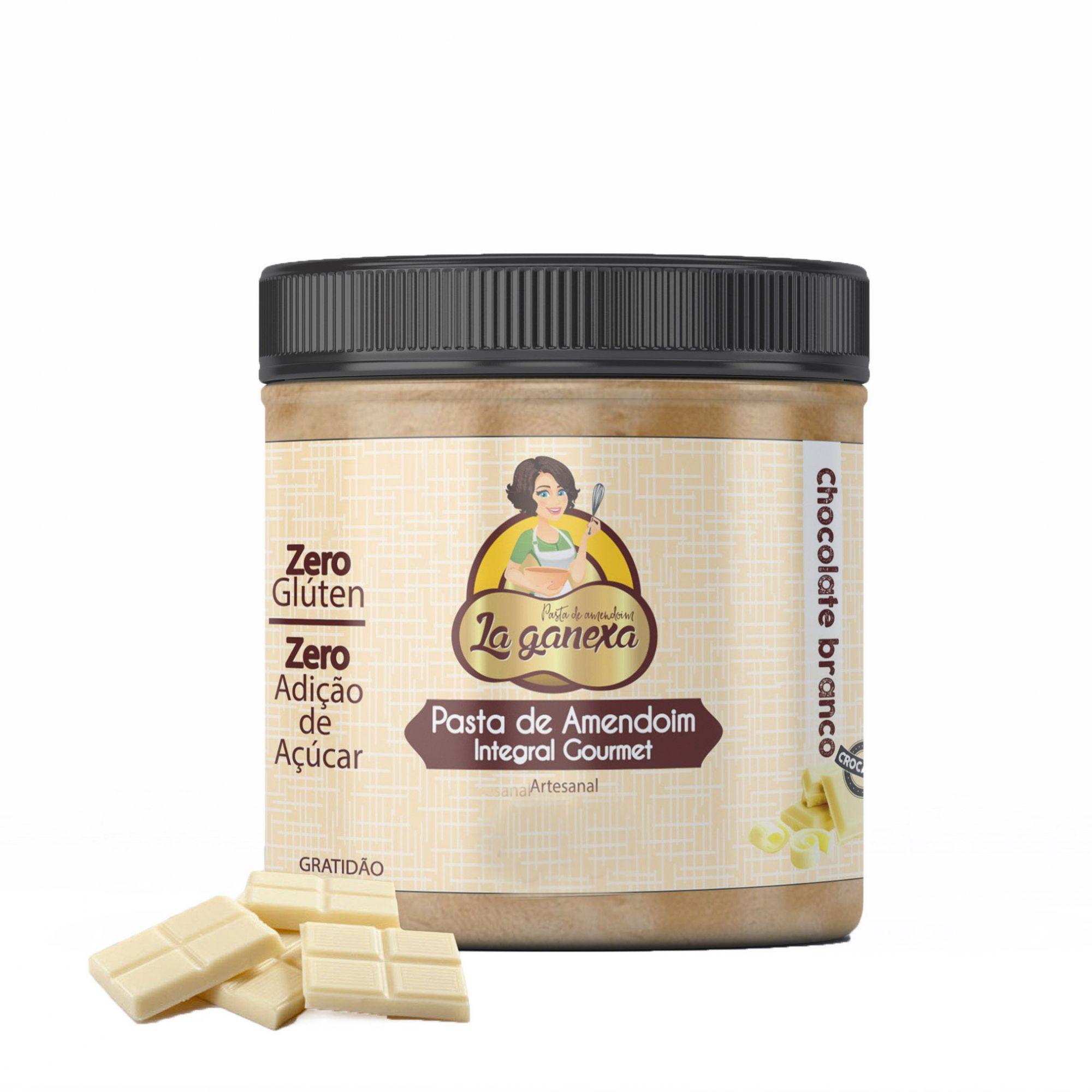 Pasta de Amendoim Integral Gourmet Chocolate Branco Crocante 1,005kg La Ganexa