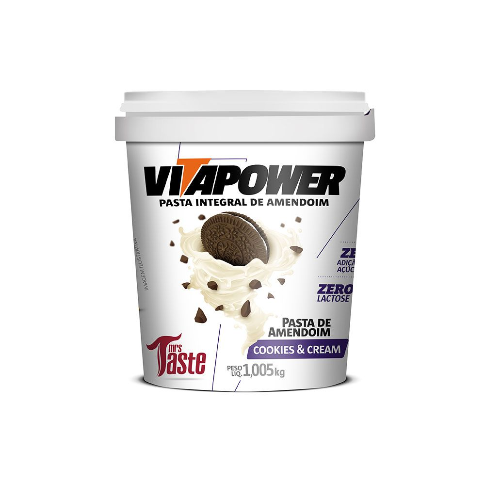 Pasta de Amendoim Vitapower Integral Cookies & Cream 1,005kg Mrs Taste
