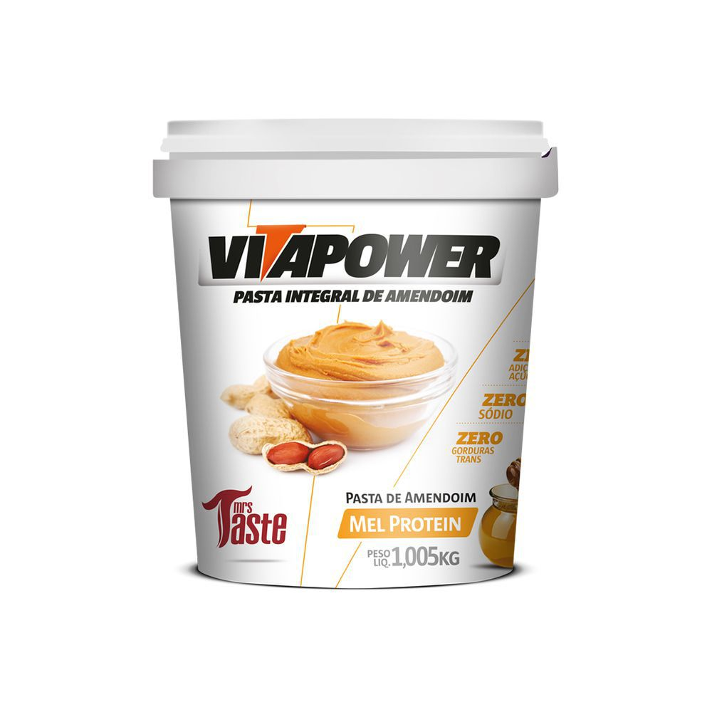 Pasta de Amendoim Vitapower Integral Mel Protein 1,005kg Mrs Taste