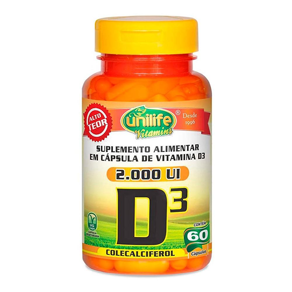 Vitamina D3 colecalciferol 2.000 UI 60 Caps Unilife