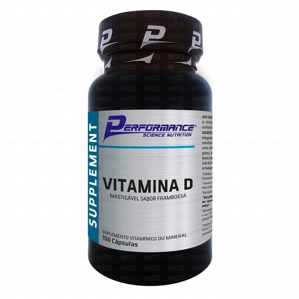 Vitamina D Mastigável 100 caps Framboesa Performance