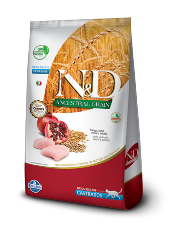 N&D Gatos Ancestral Grain Castrados - Frango e Romã