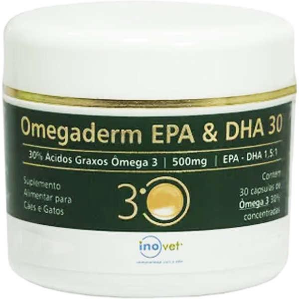 Omegaderm 500mg 30% Suplemento 30 Cápsulas - Inovet